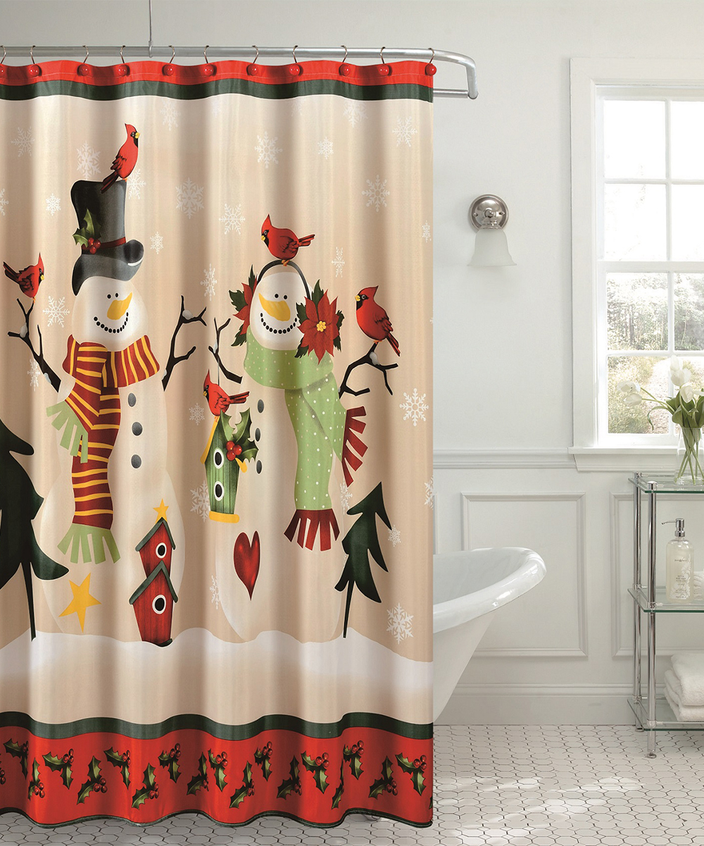 Love This Product Beige Red Christmas Holly Birds Shower Curtain