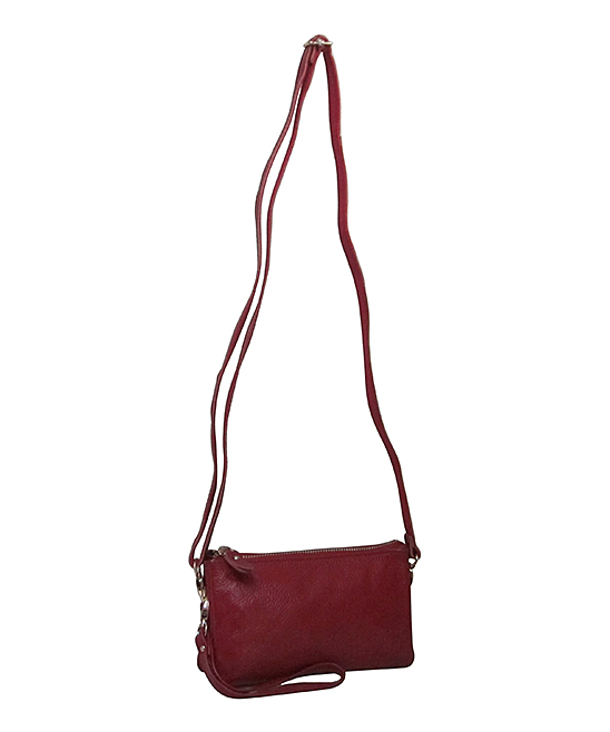 1a19a92c20 Amerileather Burgundy Leather Convertible Crossbody Bag