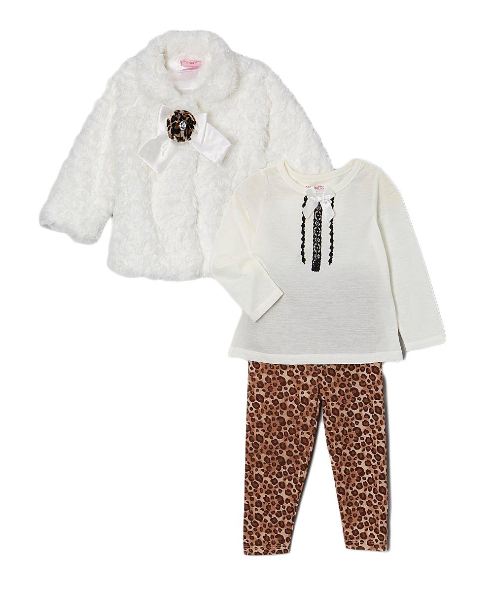 e6758fc73 Nannette Girl White Faux Fur Coat Set - Infant