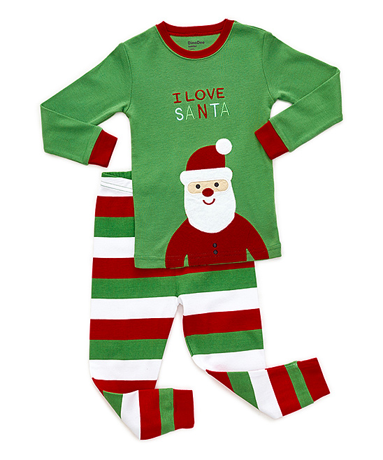 81296067d DinoDee Green Santa Pajama Set - Boys