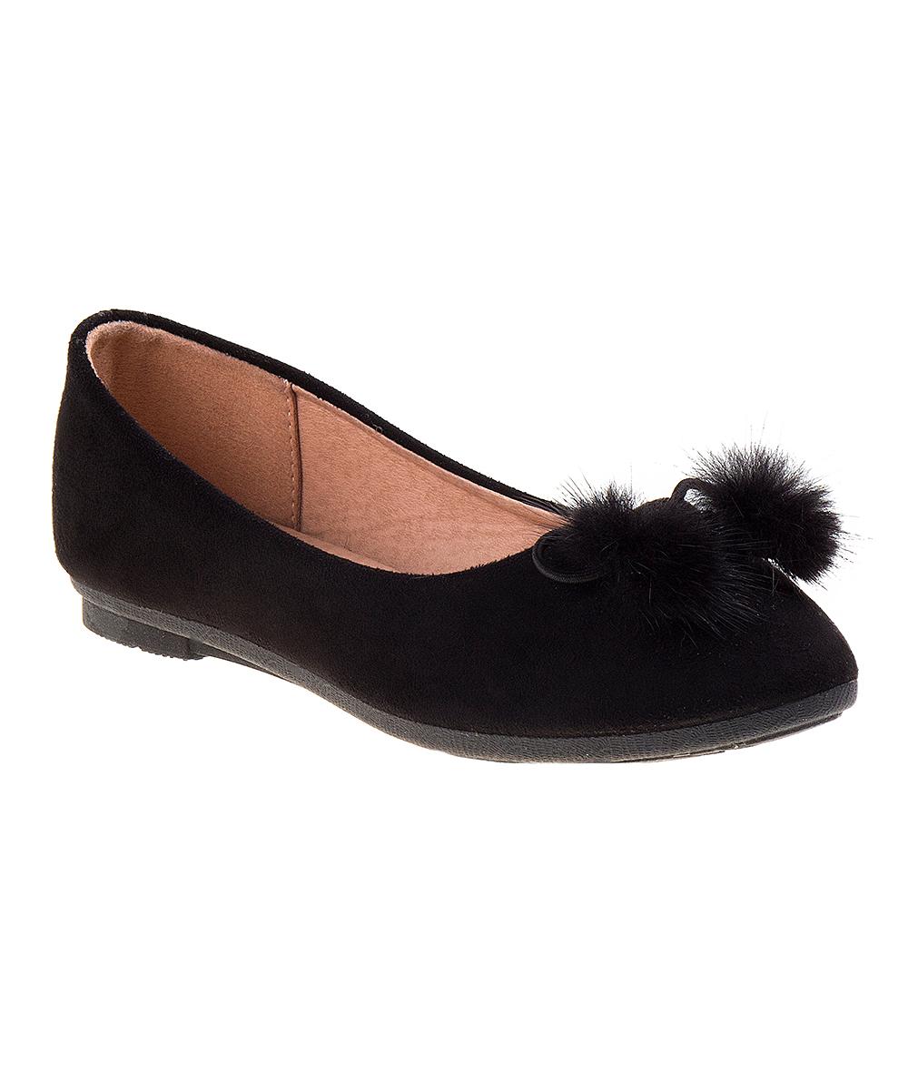 8c41a8db0905b Kensie Girl Black Pom-Pom Tie Ballet Flat - Girls