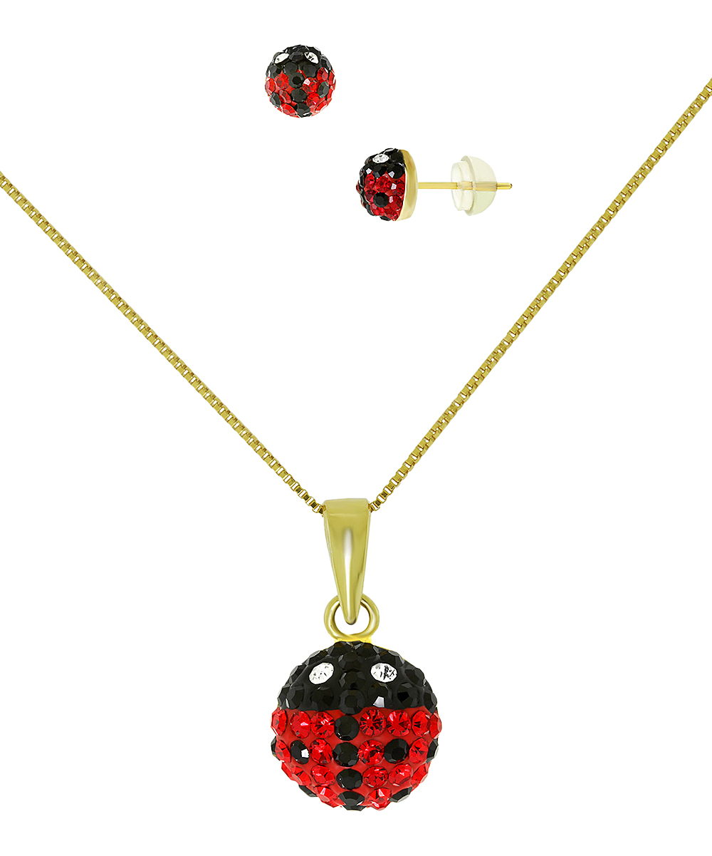 a83ef9f6544fd ReLex Red & 14k Gold Ladybug Stud Earrings Set With Swarovski® Crystals