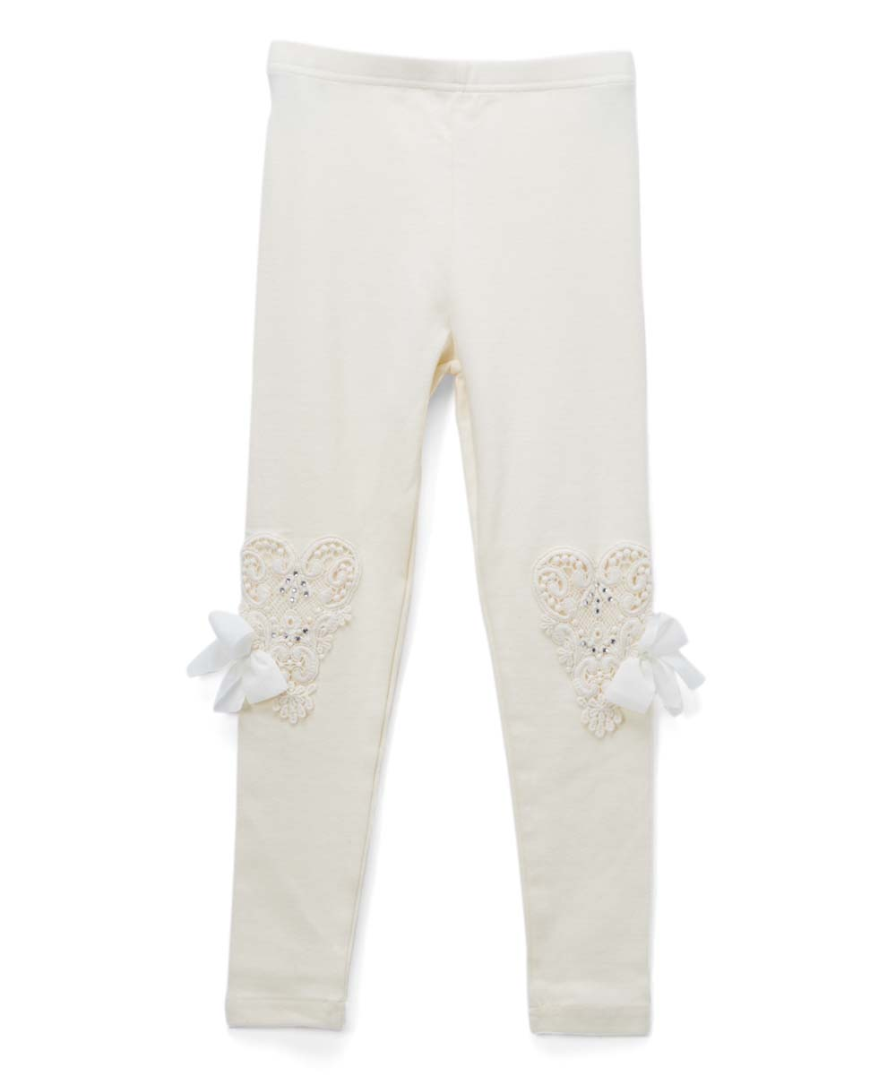 46bf5cc1038 love this product Ivory Heart-Lace Leggings - Girls