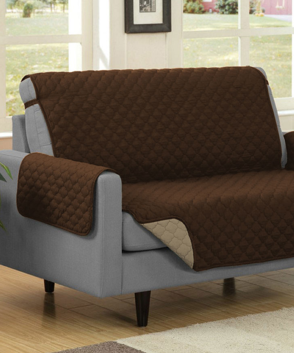 Linen Store Brown & Mocha Reversible Protective Couch Cover