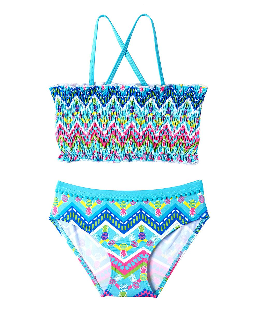 d04e447ed508f love this product Turquoise Pineapple Heart Bikini Top   Bottoms - Toddler