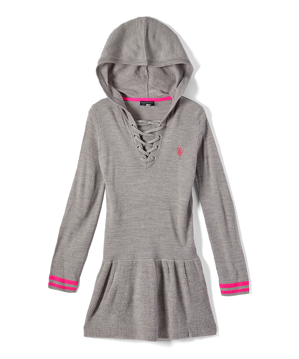 finest selection a7ee5 5fa97 U.S. Polo Assn. Medium Gray Hooded Lace-Up Sweater Dress - Toddler & Girls
