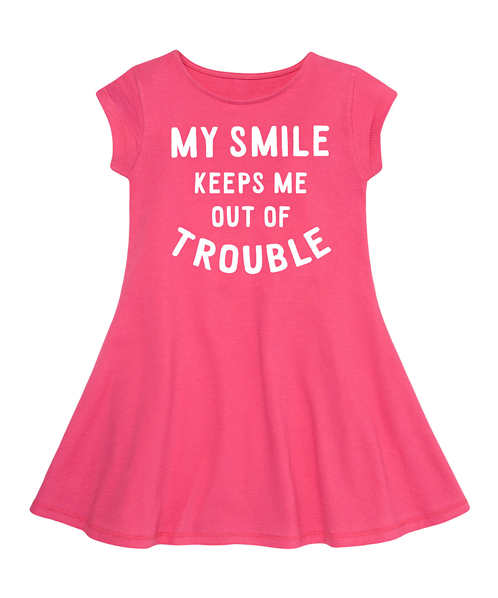 Instant Message Raspberry My Smile Fit Flare Dress Toddler