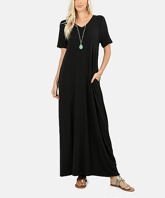 Sbs Basics Black Short Sleeve Maxi Dress Women Zulily