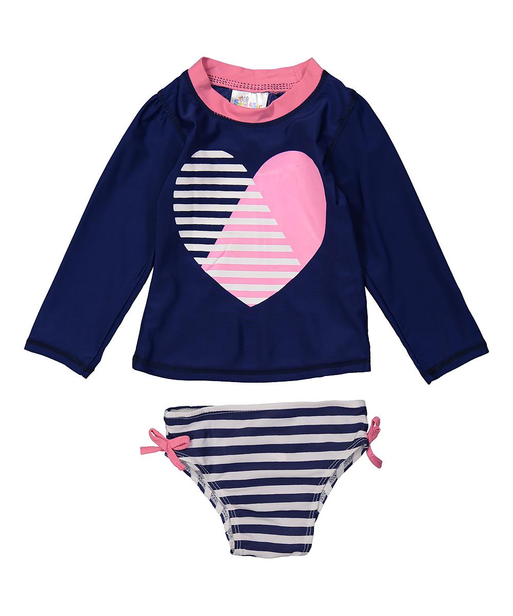 4db18e83d67b love this product Navy Heart Stripe Long-Sleeve Rashguard Set - Infant