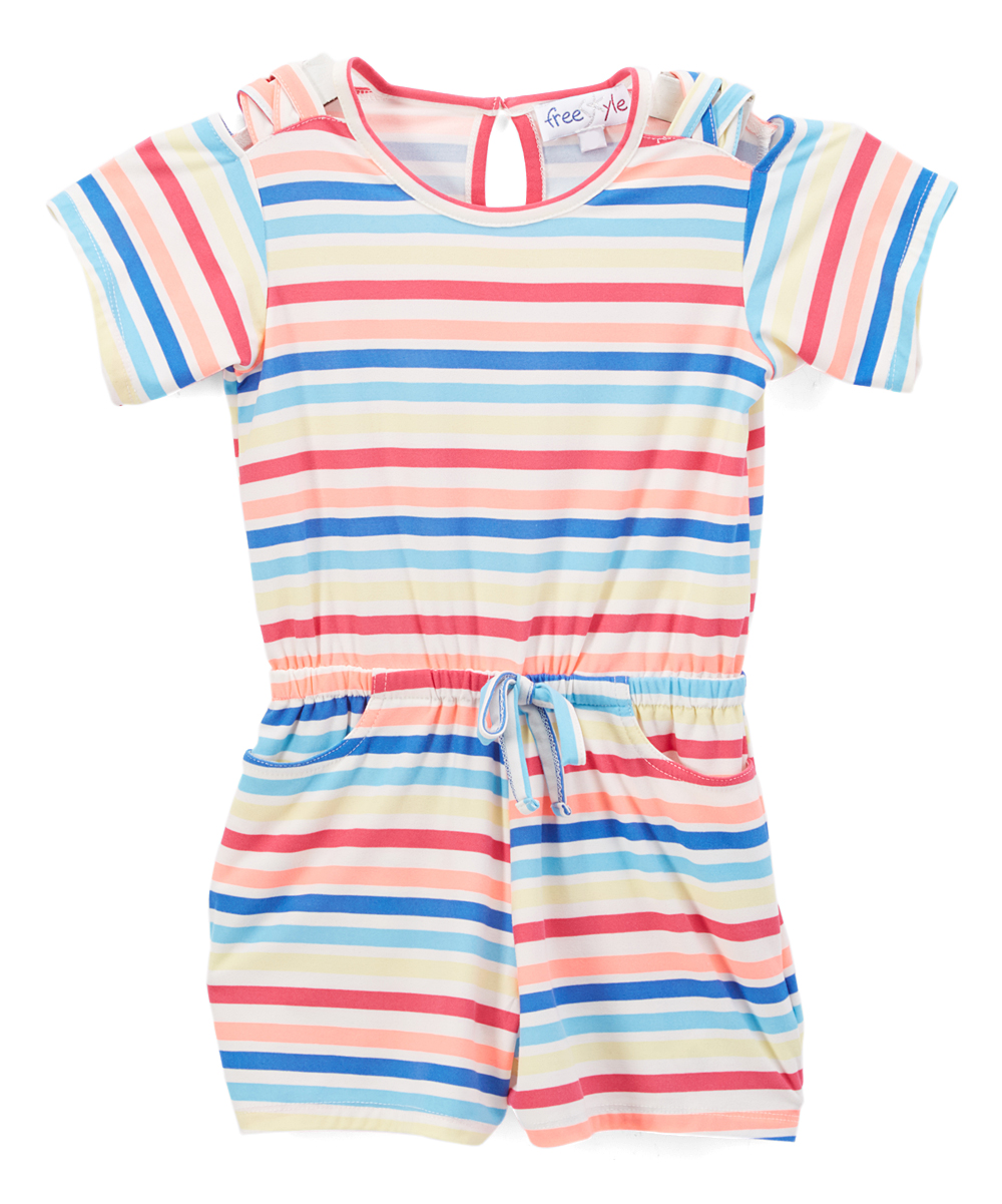 de0b90efa088 love this product Rainbow Stripe Crisscross Cold-Shoulder Romper - Girls
