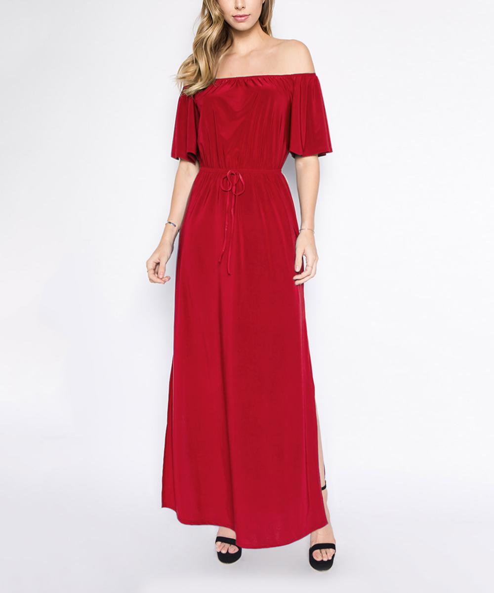 f0d76e416f4d love this product Red Off-Shoulder Maxi Dress - Women