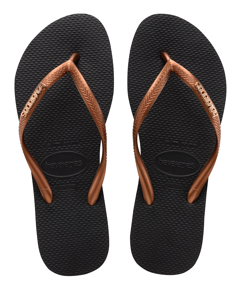 aba34c9a683d7 Havaianas Black   Copper Slim Logo Metallic Flip-Flop - Women