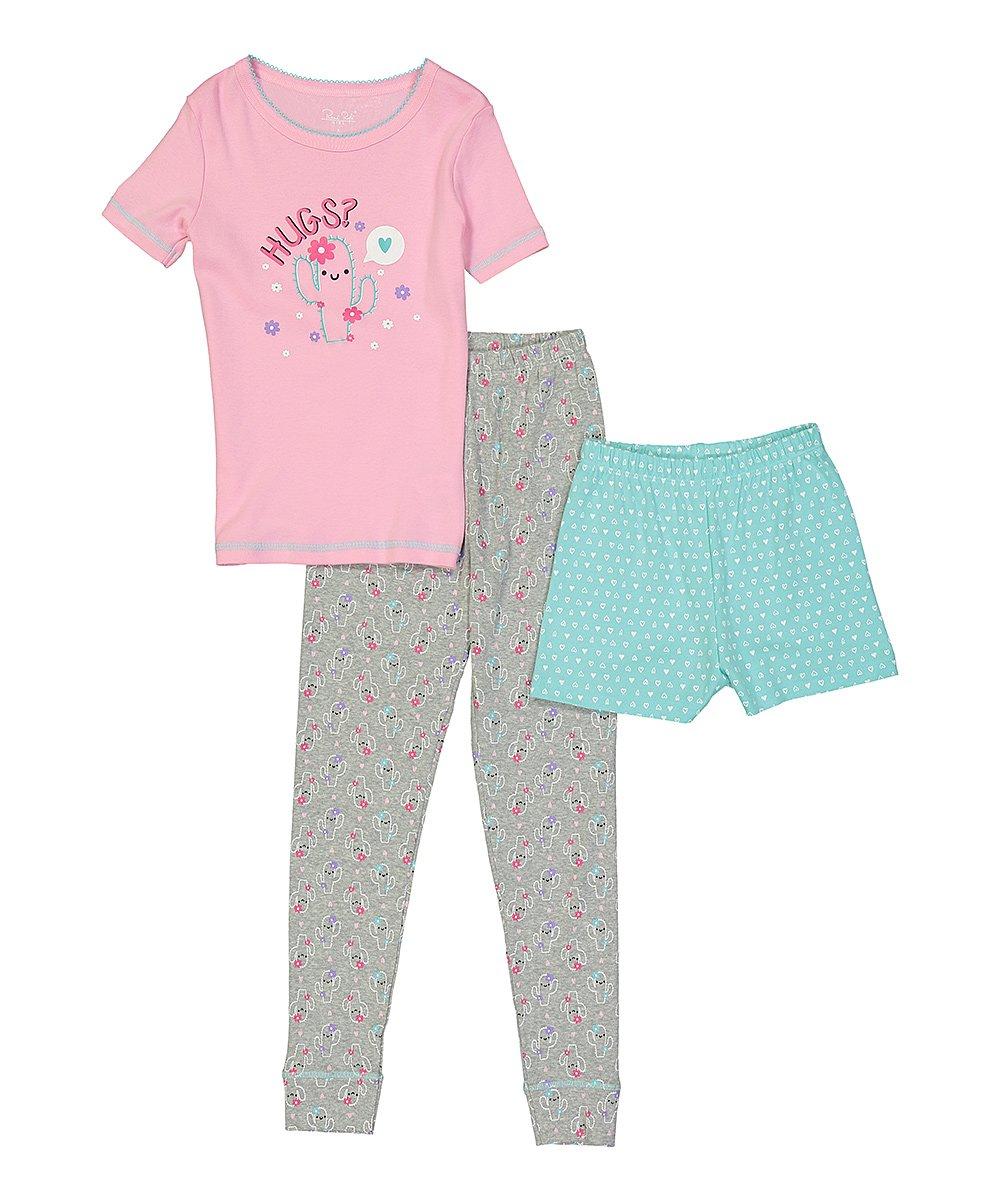 5d6923673 René Rofé Girl Pink   Aqua Cactus Three-Piece Pajama Set - Girls ...
