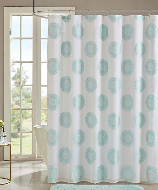 Love This Product Sheer White Aqua Medallion Shower Curtain