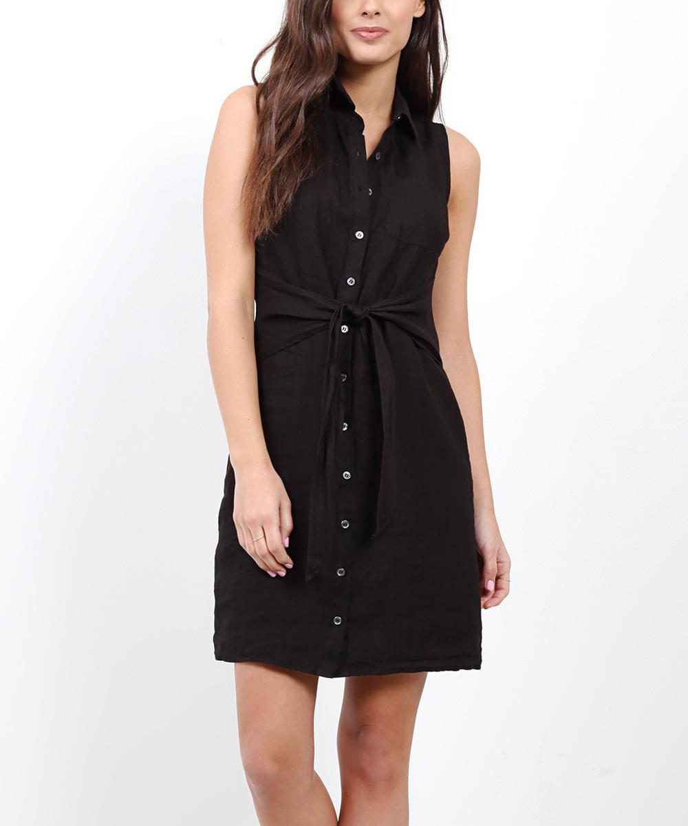 5298c3c837ca02 love this product Black Linen Front-Tie Button-Up T-Shirt Dress - Women