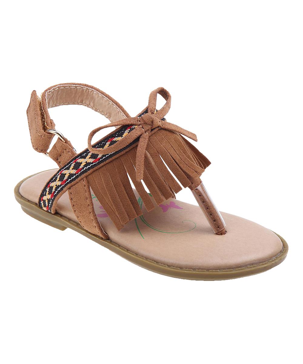 da06c2b5851159 love this product Brown Fringe-Accent Sandal - Girls