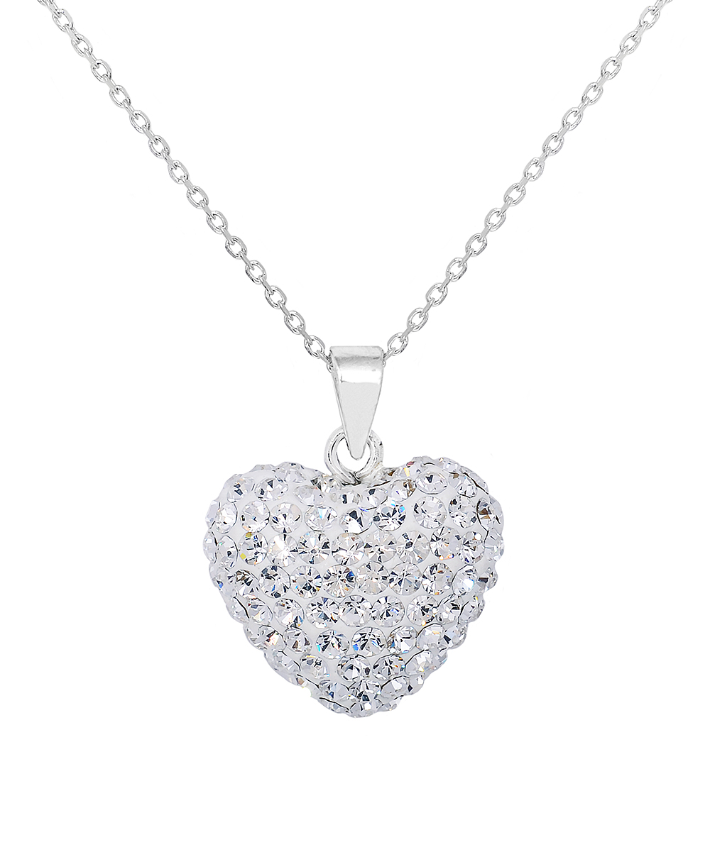 bd2e8b6e65e22 Golden Moon Sterling Silver Heart Pendant Necklace With Swarovski® Crystals