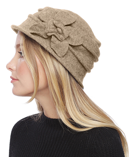 8cf9acd63bf love this product Beige Flower-Accent Wool Cloche Hat