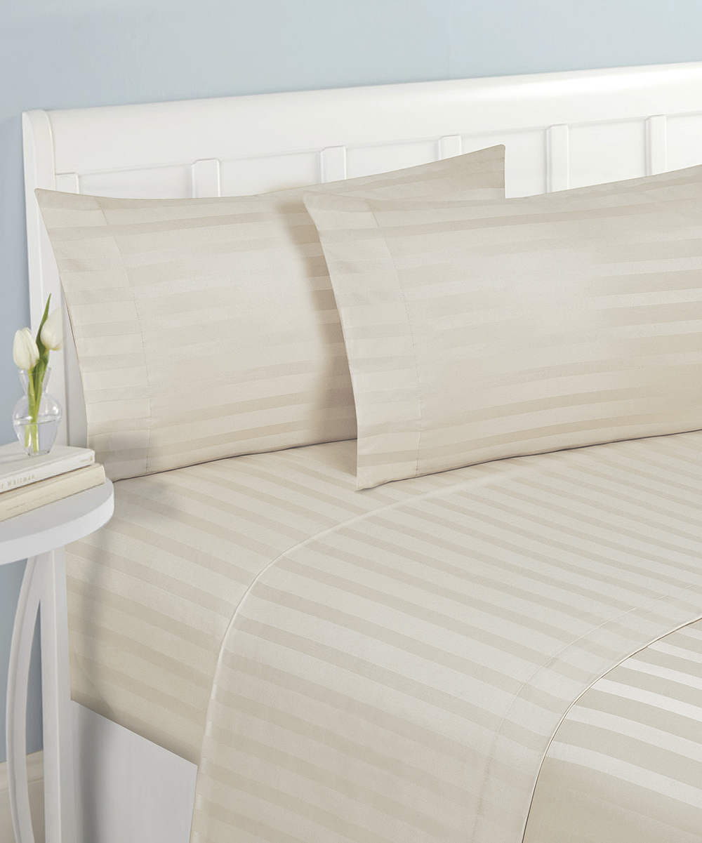 Elegance Linen Cream Stripe Wrinkle  U0026 Fade Resistant Sheet Set