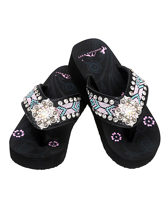 8bd26d1d9df4 love this product Black Geometric Rhinestone Flip-Flops - Women