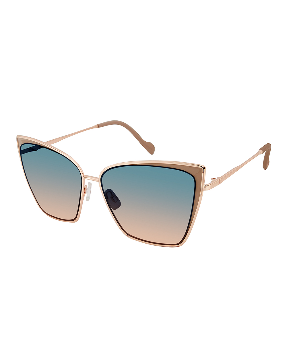 4866fbd1b3 Jessica Simpson Collection Nude Rose Gold Cat-Eye Sunglasses