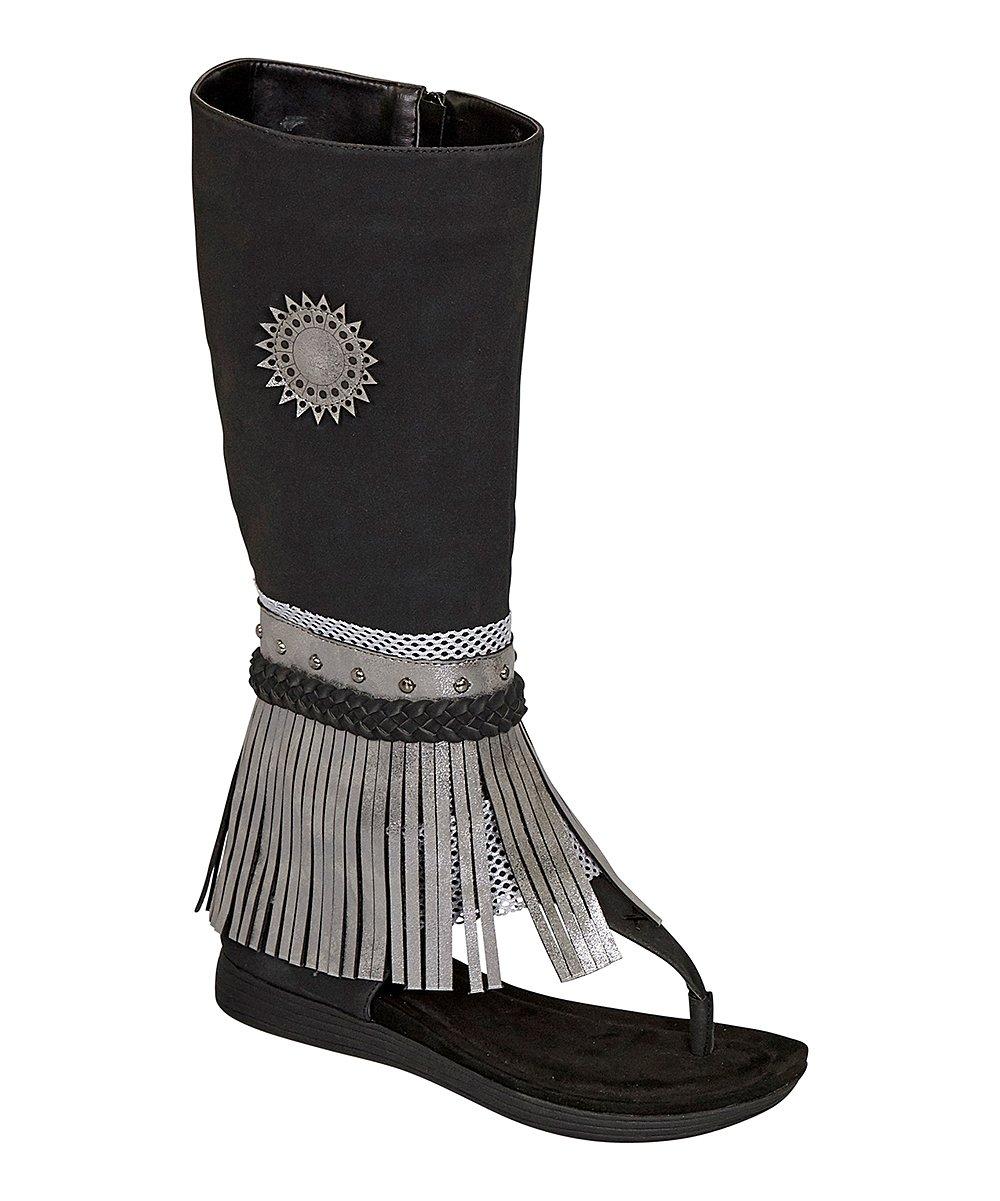 02f8e42ab9 Pierre Dumas Black Fringe Boot-Style Kesey Sandal - Women