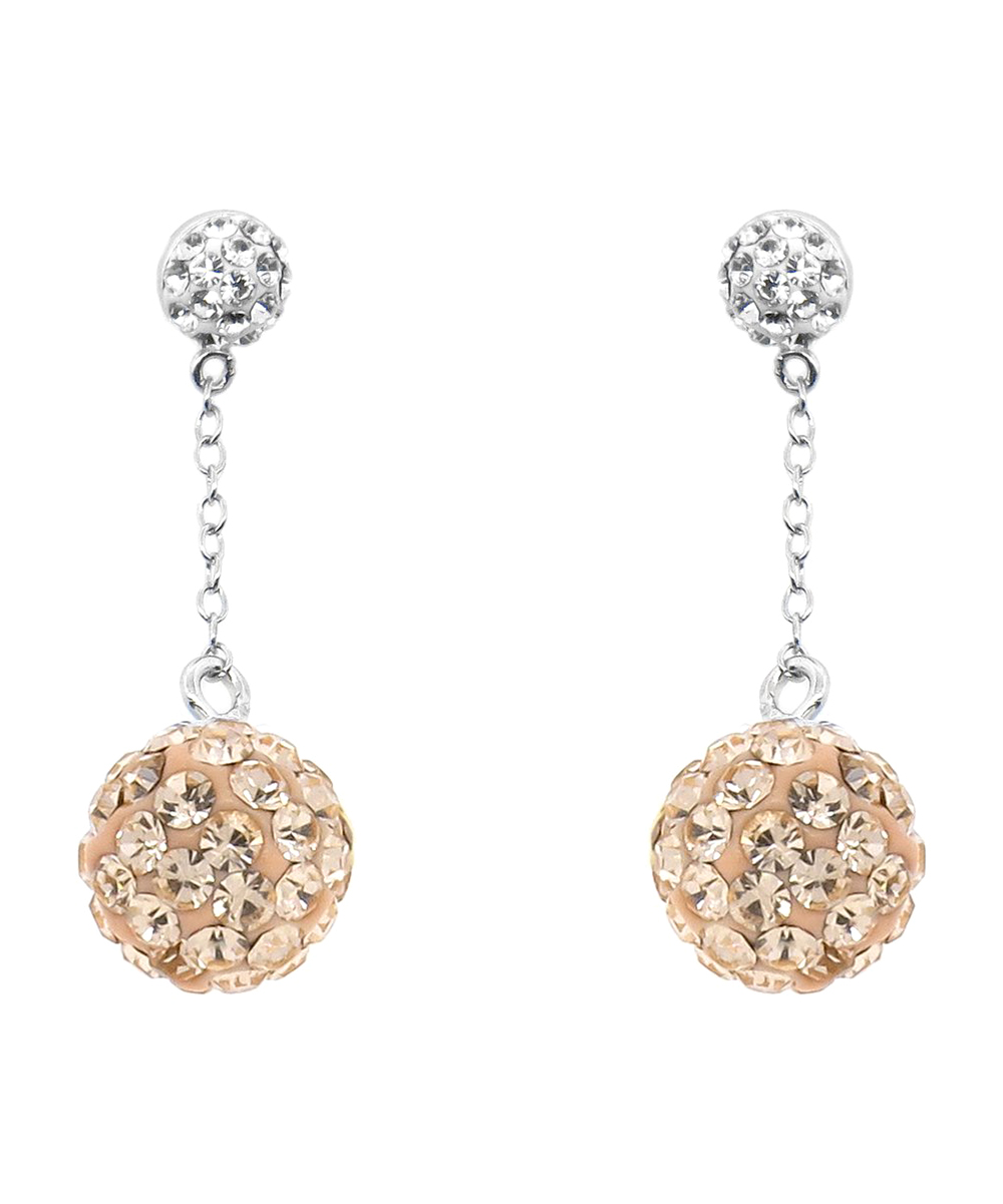 7c78141a32590 Golden Moon Peach & Sterling Silver Pavé Ball Drop Earrings With Swarovski®  Crystals
