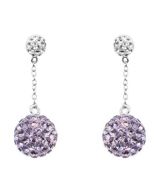 c8ae8bbf9901c Golden Moon Purple Pavé Ball Drop Earrings With Swarovski® Crystals
