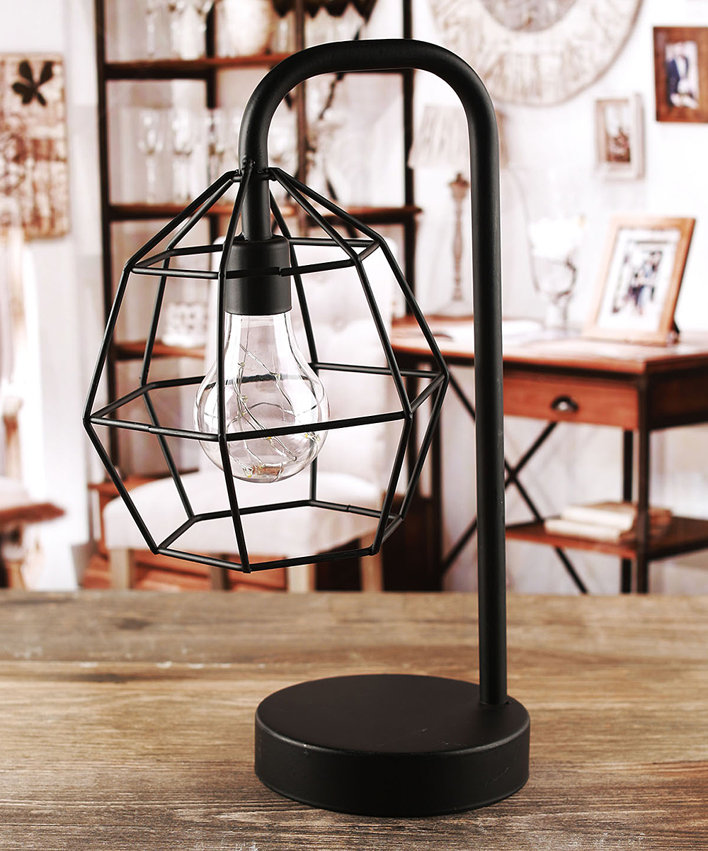 Love this product round cage battery operated metal table lamp