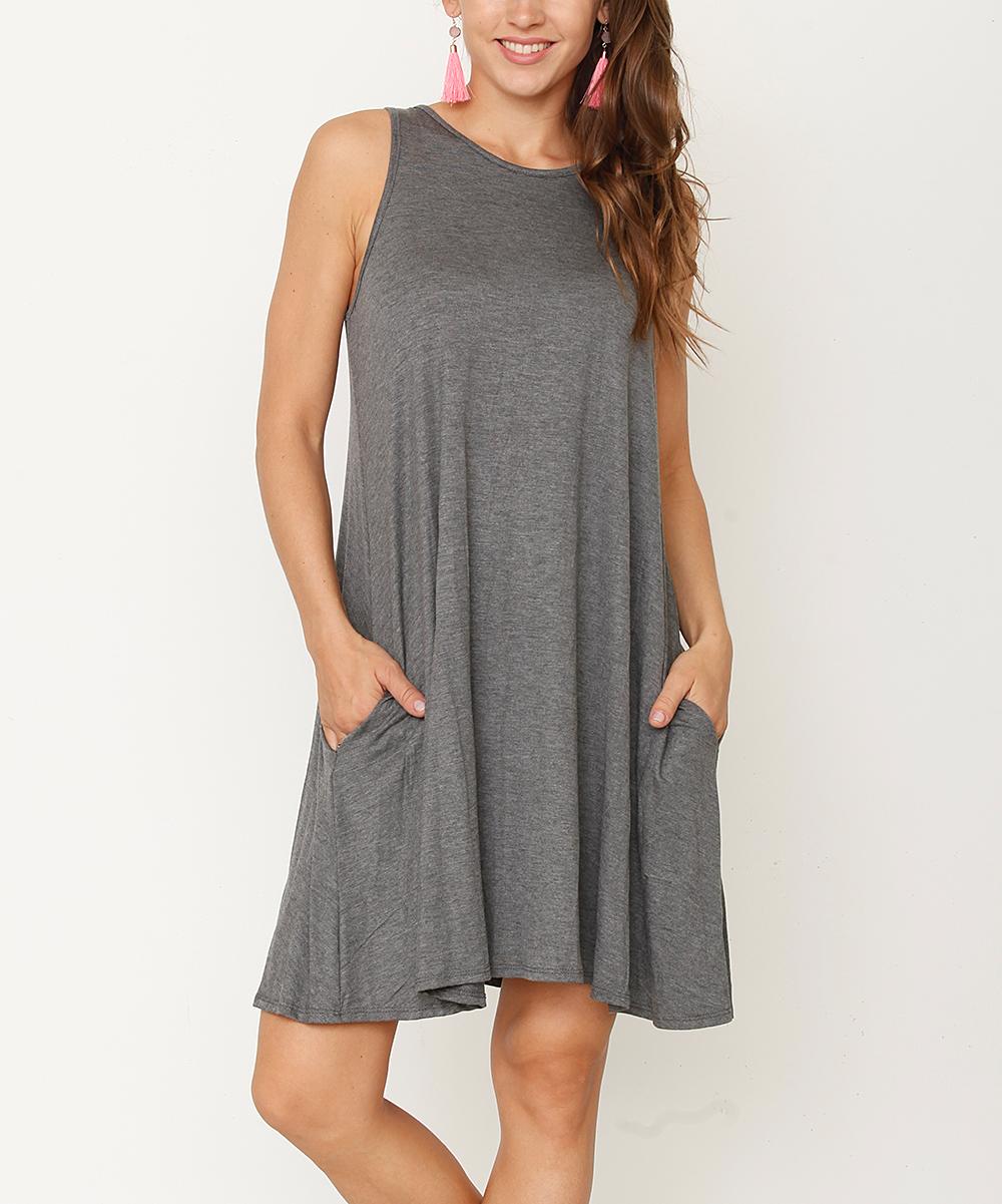 f37e0afddbea0 love this product Charcoal Pocket Sleeveless Dress - Women   Plus
