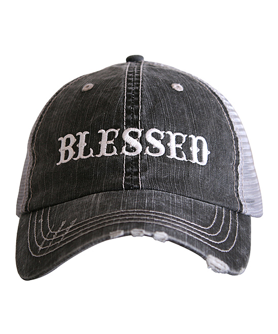 Gray 'Blessed' Western Font Trucker Hat