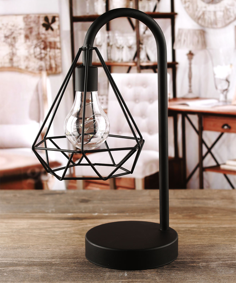 Love this product triangle cage battery operated table lamp