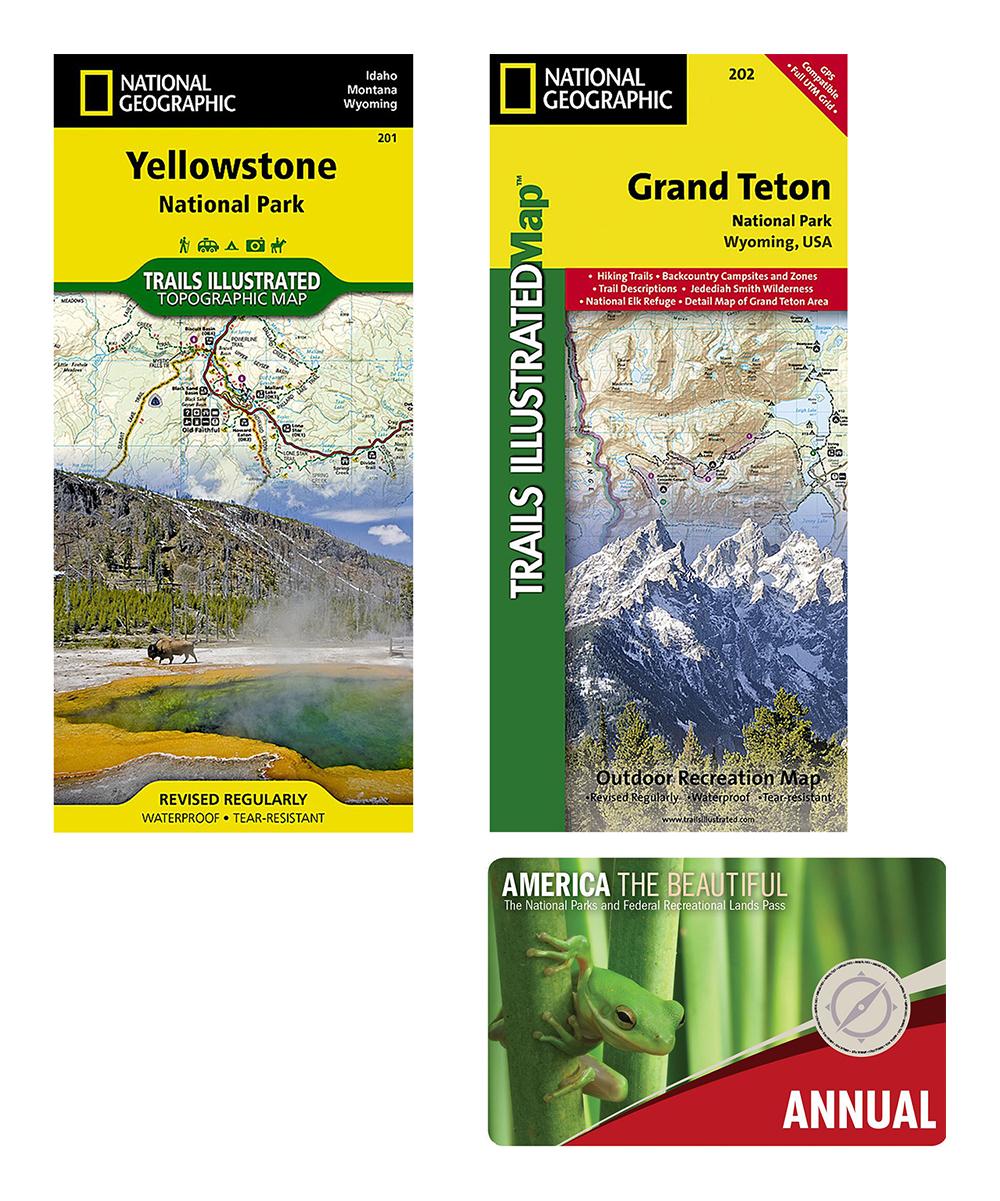 National Park Service Grand Teton & Yellowstone National Park Map & Park  Pass Set