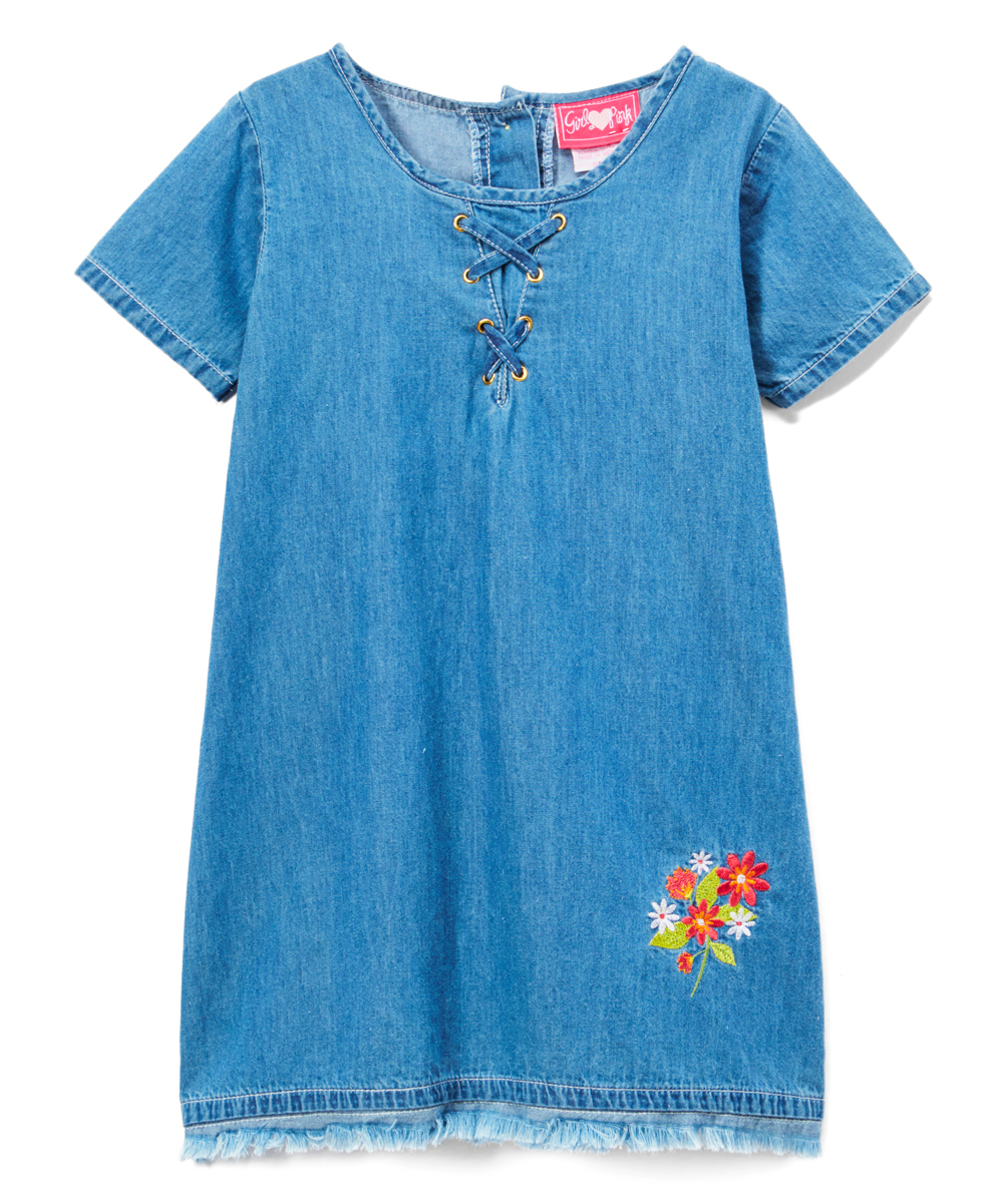 c335f39a1e9 love this product Light Blue Denim Lace-Up Shift Dress - Girls
