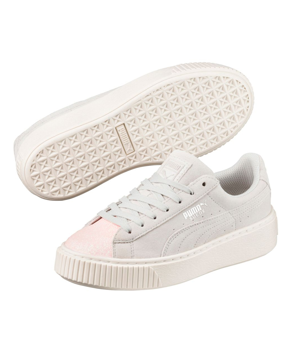 df5abe4892006e love this product Pearl   Glacier Gray Platform Glam Suede Sneaker - Kids