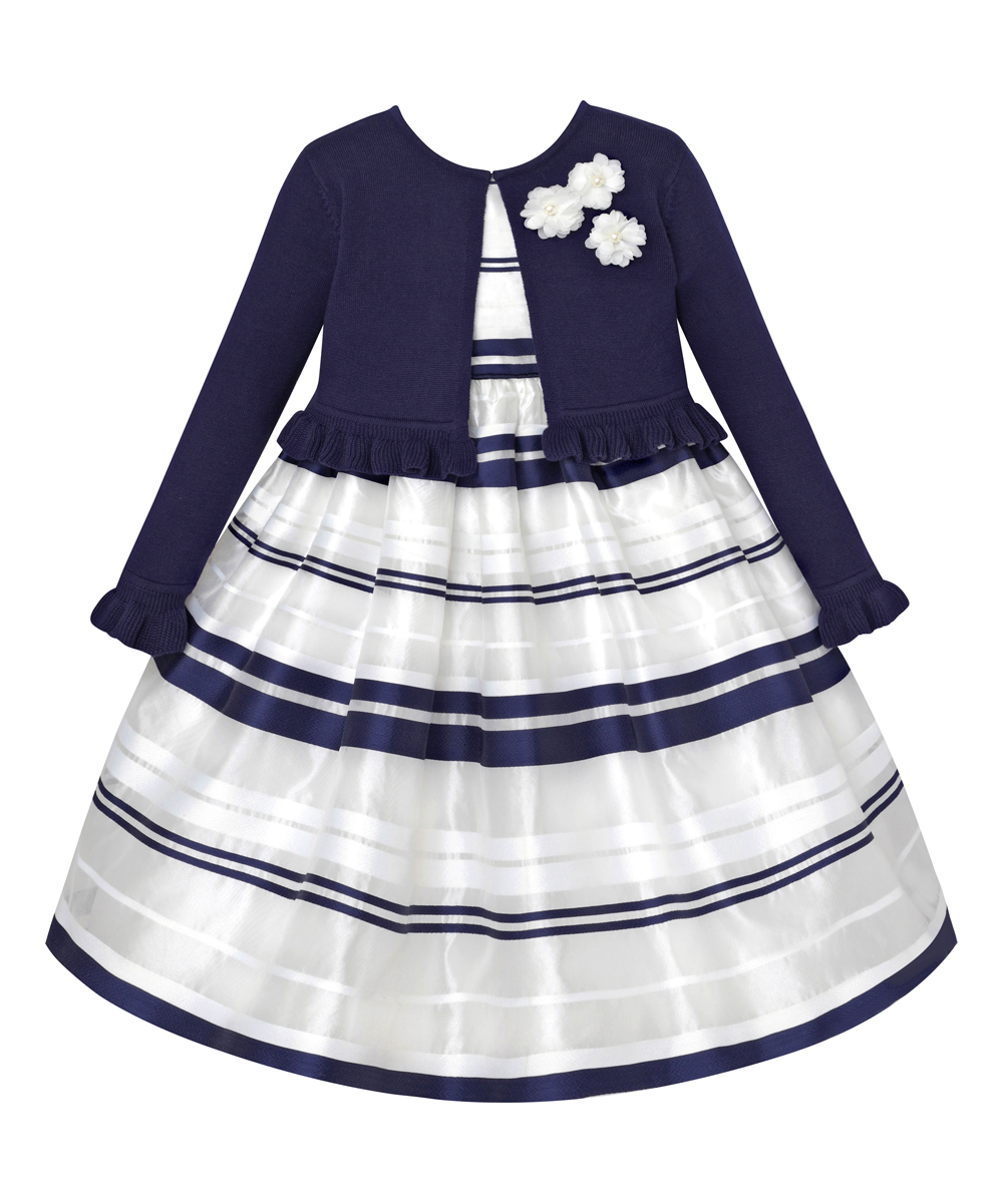 0219888b234d love this product Navy   White Ruffle-Accent Sweater   Stripe Dress - Girls