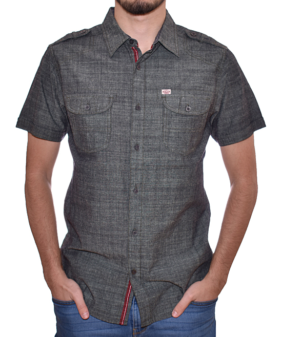 Black Chambray Short-Sleeve Button-Up - Men