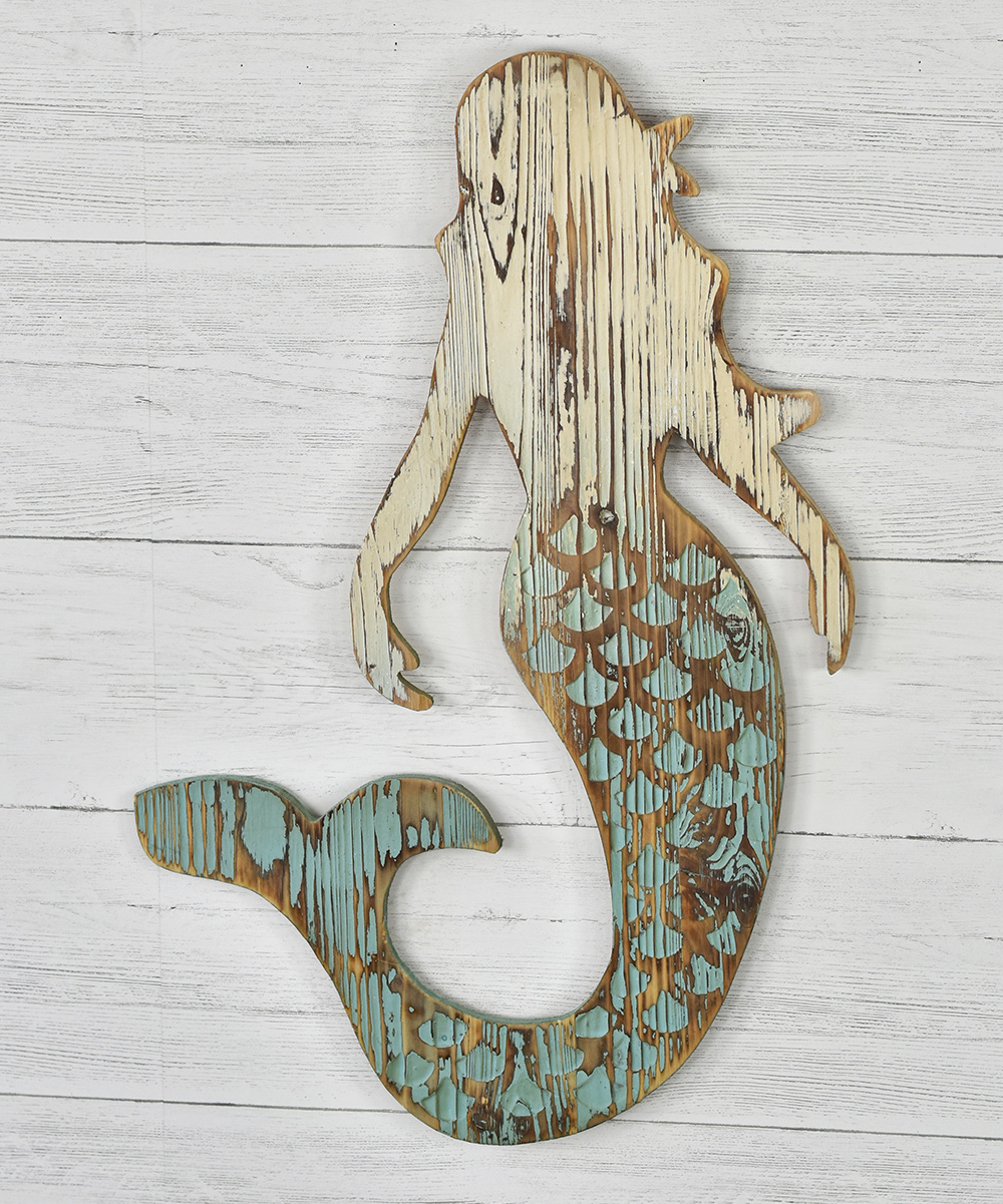 Carved Wood Mermaid Wall Art