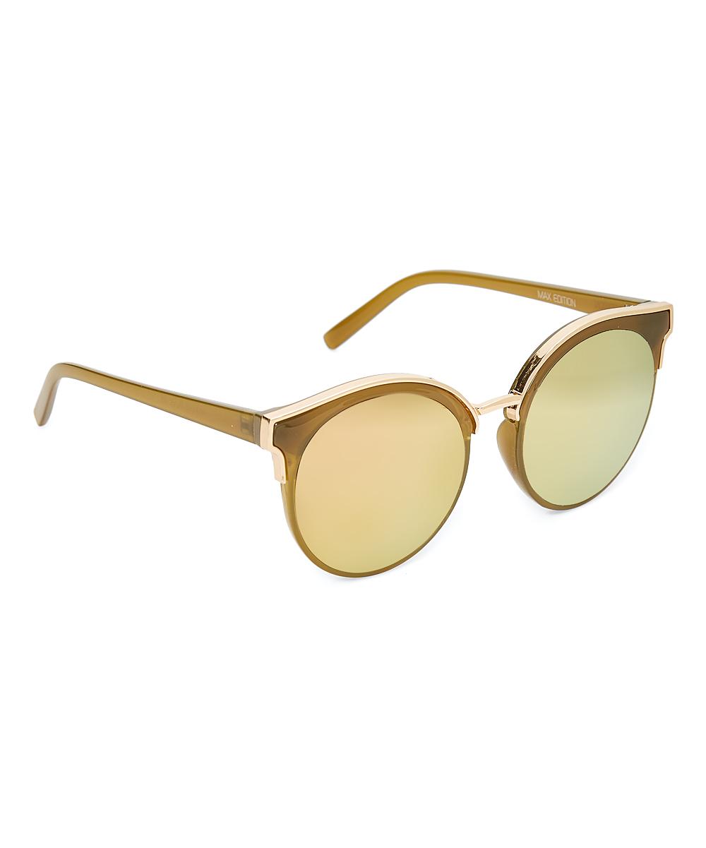 b62c503ce4 Max edition olive gold deco flash mirror round sunglasses zulily jpg  1000x1201 Olive mirrored aviators