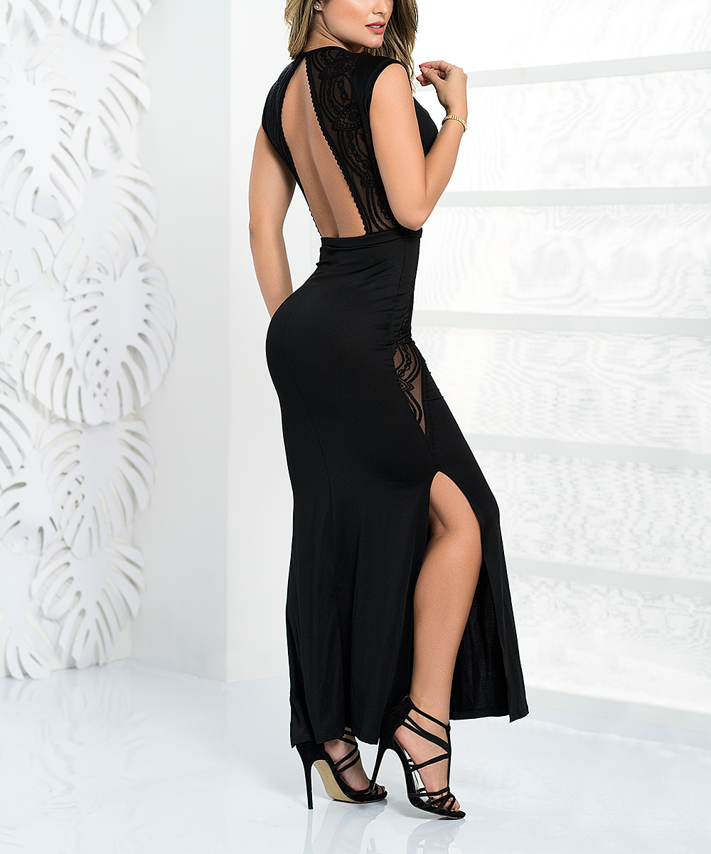 77308c712cf7 Black Lace Open-Back Side-Slit Gown - Women - Mapale - Zulily