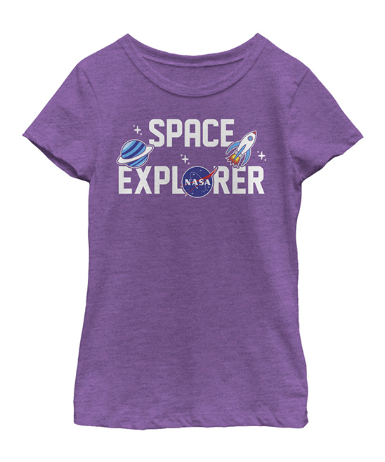 Fifth Sun NASA Purple Berry Space Explorer Fitted Tee - Girls