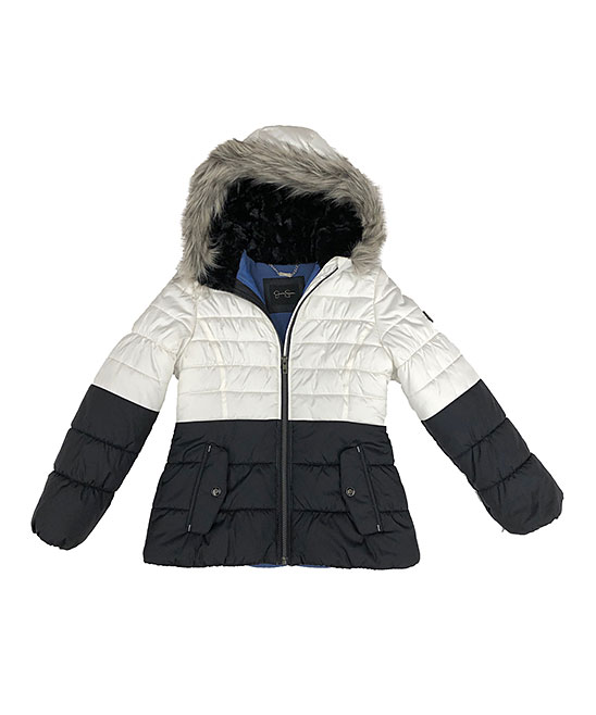 33c191fb1 Jessica Simpson Collection White Color Block Puffer Jacket - Girls ...