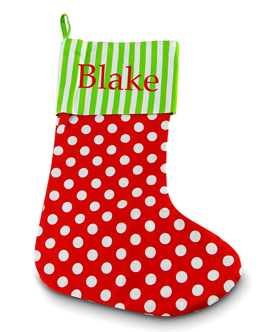 Red Christmas Stocking.Three Ps In A Pod Red Polka Dot Script Personalized Christmas Stocking