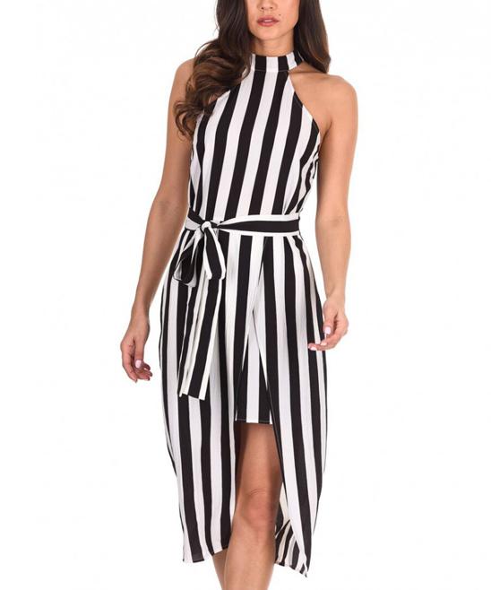 AX Paris Black   White Stripe Wrap Dress - Women  4fda8a51c