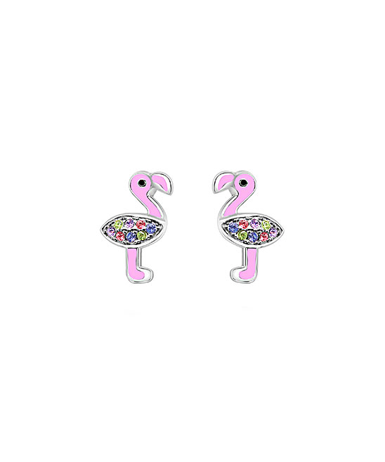 Chanteur Designs Sterling Silver Flamingo Stud Earrings With Swarovski Crystals