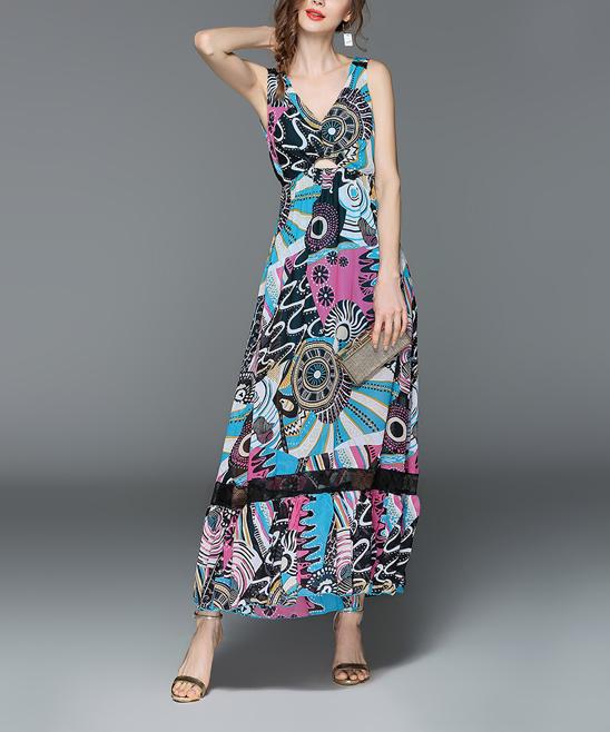 173d7e60 Black & Blue Abstract Maxi Dress - Women - Nisha Outi