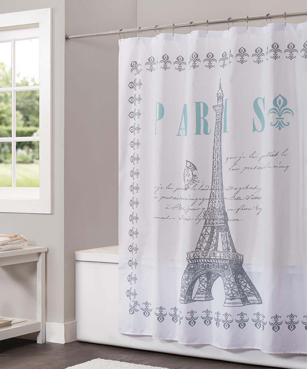 Gray Aqua Paris Fabric Shower Curtain