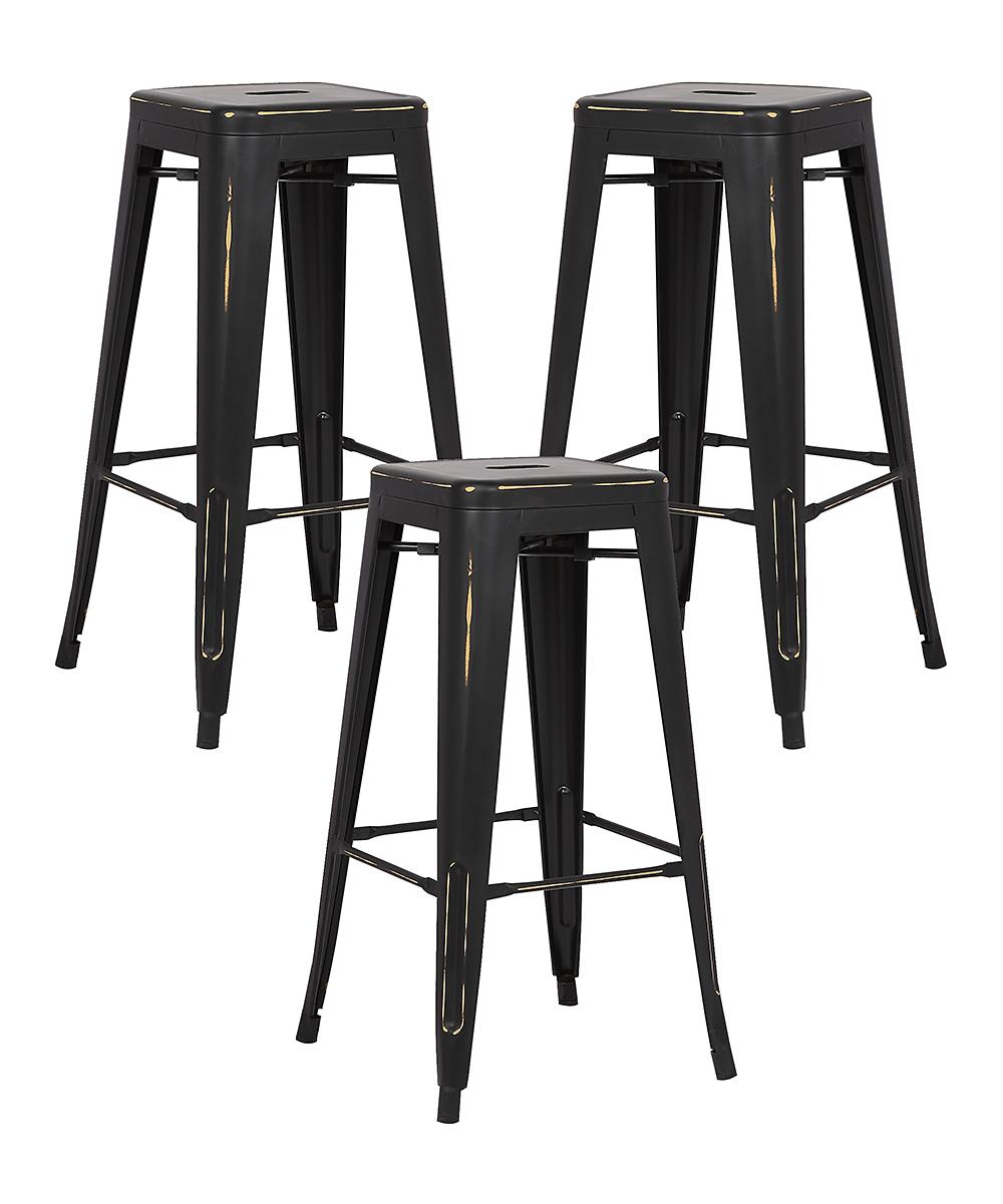 Prime Edgemod Distressed Black Trattoria Bar Stool Set Of Three Theyellowbook Wood Chair Design Ideas Theyellowbookinfo