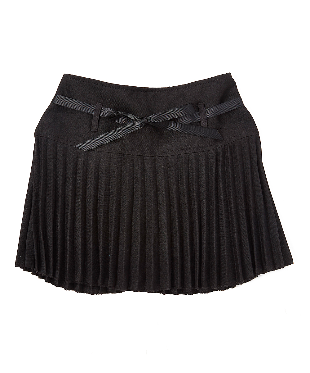 347b0ef4bf Cuties Fashions Black Tie-Waist Accordion Skirt - Girls | Zulily