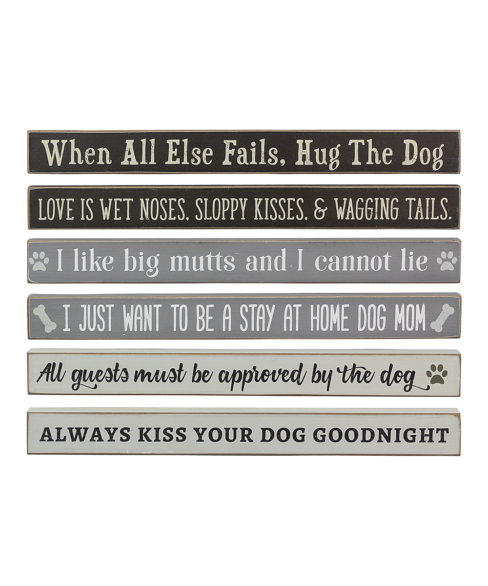 'Hug the Dog' Wood Block Sign - Set of 6